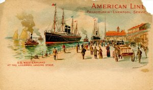 American Line - SS Westerland at Liverpool, Private Mailing Card (torn)
