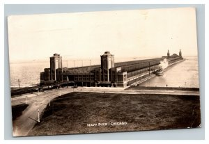 Vintage 1947 Photo Postcard Navy Pier Chicago Illinois Ferry Docked