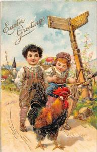 9391 Easter Gold trim Victorian  Girl and boy  walking a Rooster