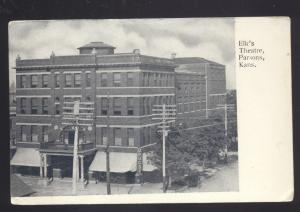 PARSONS KANSAS ELK'S THEATRE ELKS ANTIQUE VINTAGE POSTCARD B&W