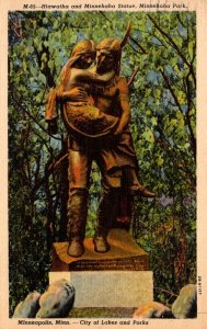 Minnesota Minneapolis Minnehaha Park Hiawatha and Minnehaha Statue 1953 Curteich