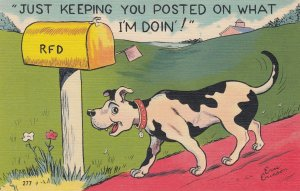 COMIC; 1930-40s; Just Keeping You Posted On What I'm Doin'!, Dog at mailbox