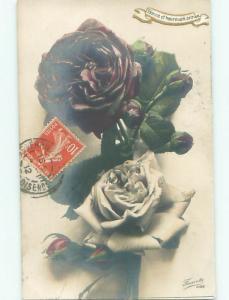 Old rppc FLOWERS SCENE Pretty Postcard AB2329