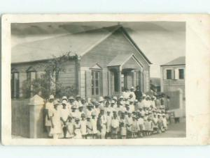 rppc 1920's Black Americana BLACK CONGREGATION STANDS IN FRONT OF CHURCH AC7904