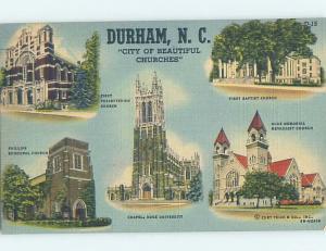 Linen FIVE VIEWS ON POSTCARD Durham North Carolina NC HM9698