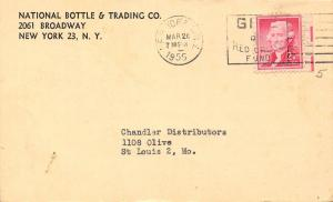 New York City~National Bottle & Trading Co~Obsolete Distressed Mdse~1955 Postal