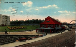 Postcard OH Akron Union Station - Trains, Railroad, Train Tracks 1916 A11