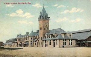 PORTLAND, ME Maine  UNION RAILROAD STATION   Train Depot  c1910's Postcard
