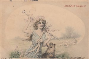 EASTER, PU-1914; Young Lady with dog, M.M.VIENNE