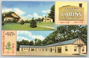 Cincinnati Ohio~Cozy Cabins Motor Court~2 Views~1940s Roadside Postcard