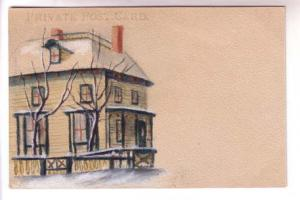 Lovely Private Postcard, Watercolor of House in Snow,