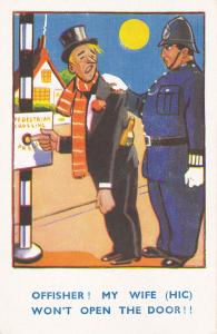 COMIC; Drunk caught by policeman at pedestrian crossing under full moon, 20-30s