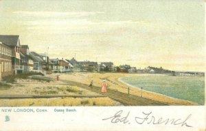 Ocean Beach New London, CT, Houses, People Postcard Tuck's Pre-1907