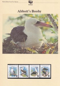Abbotts Booby Christmas Island Birds WWF Stamps and Set Of 4 First Day Cover ...