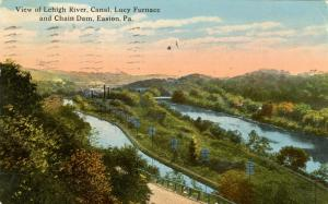 PA - Easton. Lehigh River Canal, Lucy Furnace and Chain Dam