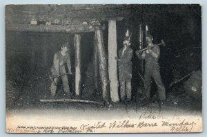 Postcard PA Wilkes Barre Coal Mining Setting Roof Support Props 1906 U17