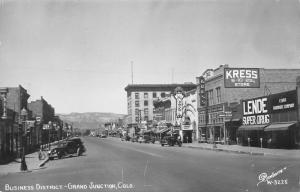 Grand Junction CO~Lenoe Super Drug~Kress~James Cagney @ Mesa Theatre~RPPC 1940s