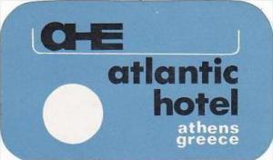 GREECE ATHENS ATLANTIC HOTEL VINTAGE LUGGAGE LABEL