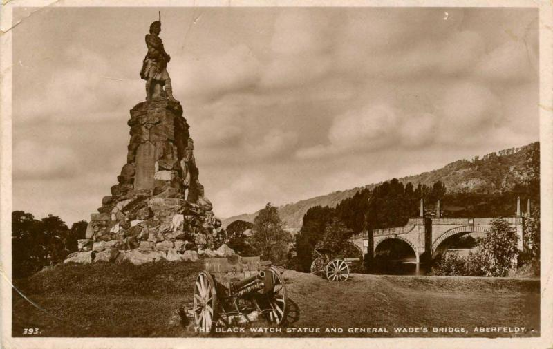 UK - Scotland. Aberfeldy. Black Watch Statue and General Wade's Bridge.   *RPPC