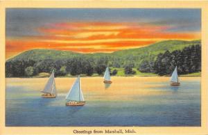 Marshall Michigan~Idyllic Lake Scene~Sailboats on Water @ Sunset~1940s Linen Pc