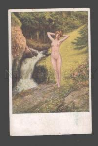 092596 NUDE Nymph FAIRY in Wood by Mario GLICK vintage PC