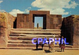 Postcard Modern Tiwanaku Bolivia Escalinata of Calazazaya Lama