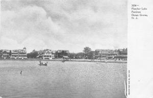 Ocean Grove New Jersey~Fletcher Lake~People Boating~Houses~c1905 Postcard