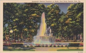 Automatic Electric Fountain At Night East Perry Square Erie Pennsylvania