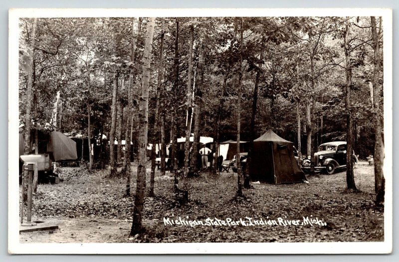 Indian River Michigan~State Park Tent Camping~Drinking Fountain~1930s Cars~RPPC