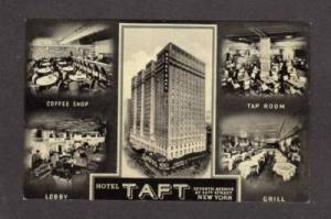 NY Hotel Taft Multiview Times Square Postcard PC Lobby+