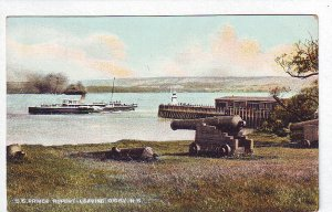 P1317 used postcard steamer s.s prince rupert leaves digby n.s. canada, cannon