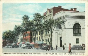 Vintage Postcard Franklin Saving Institute Bank and County Trust Greenfield MA