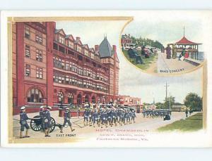 Pinhole Damage Divided-Back SOLDIERS AT HOTEL Fort Monroe - Hampton VA B4992