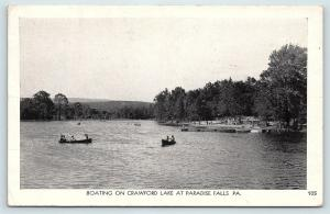 Postcard PA Paradise Valley Paradise Falls Boating on Crawford Lake R41