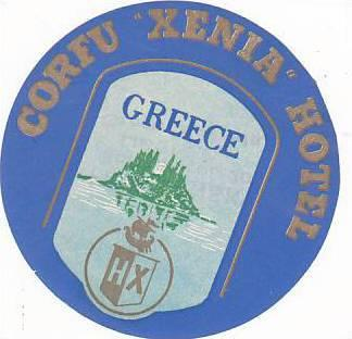 GREECE CORFU HOTEL XENIA VINTAGE LUGGAGE LABEL