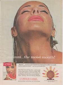 Cover Girl Lipstick 1965 Print Ad, Pink Lips, the Moist Mouth, Camilla Sparo