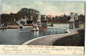 Bridge and Swan Rides in Public Garden, Boston, Mass - c1907 Postcard
