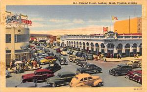 Mexico Old Vintage Antique Post Card Second Street Looking West Tijuana Unused