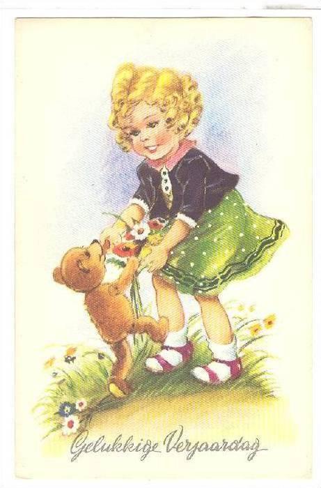 Gelukkige Verjaardag Curly Haired Blond Girl Dancing With Teddy