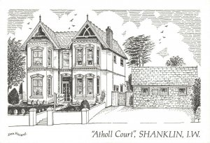 Art Sketch Postcard Atholl Court Shanklin Isle of Wight by Don Vincent AS1