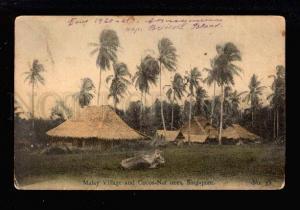 034226 SINGAPORE Malay village & Coca-Nut Vintage PC