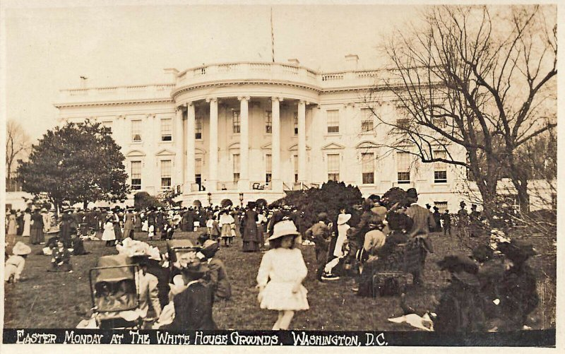 Washington DC White House Grounds Easter Monday Real Photo Postcard