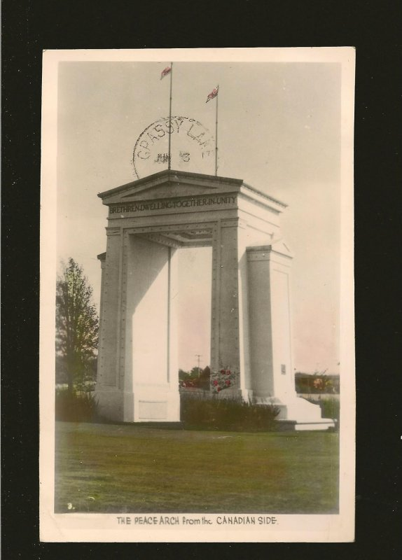 Postmarked 1946 White Rock BC Peace Arch Canadian Side Gowen Sutton Postcard