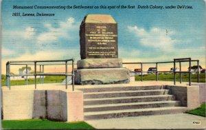 Vtg 1950s Monument DeVries Palisade Dutch Colony Lewes Delaware DE Postcard