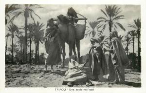 RPPC Libya Libia Tripoli Una sosta nell`oasi ethnics camel real photo postcard