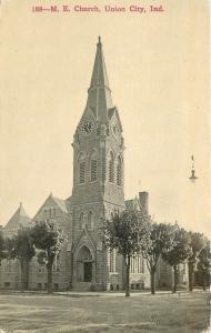 Union City Indiana~Methodist Episcopal Church~Clock Tower~1910 B&W Postcard