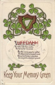 KEEP YOUR MEMORY GREEN 1913 St. Patrick Series No. 16 embossed