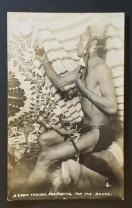 Mint Spokane Washington Crow Indian Preparing for Dance Real Picture Postcard