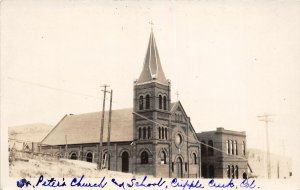 G23/ Cripple Creek Colorado RPPC Postcard c1920s St Peters Church School