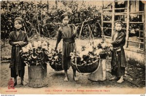 CPA INDOCHINA Tonkin Petites marchandes de fleurs VIETNAM (959279)